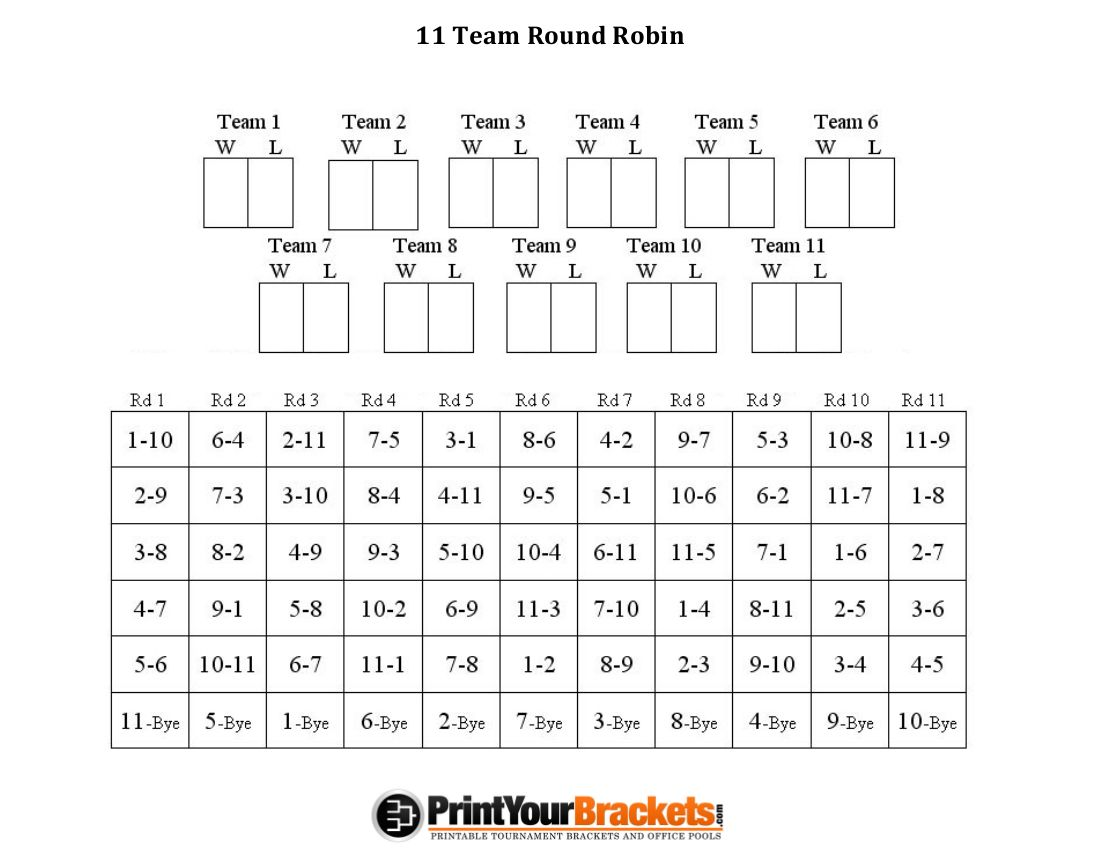 11 Team Round Robin Printable Tournament Bracket Tournaments Robin Teams
