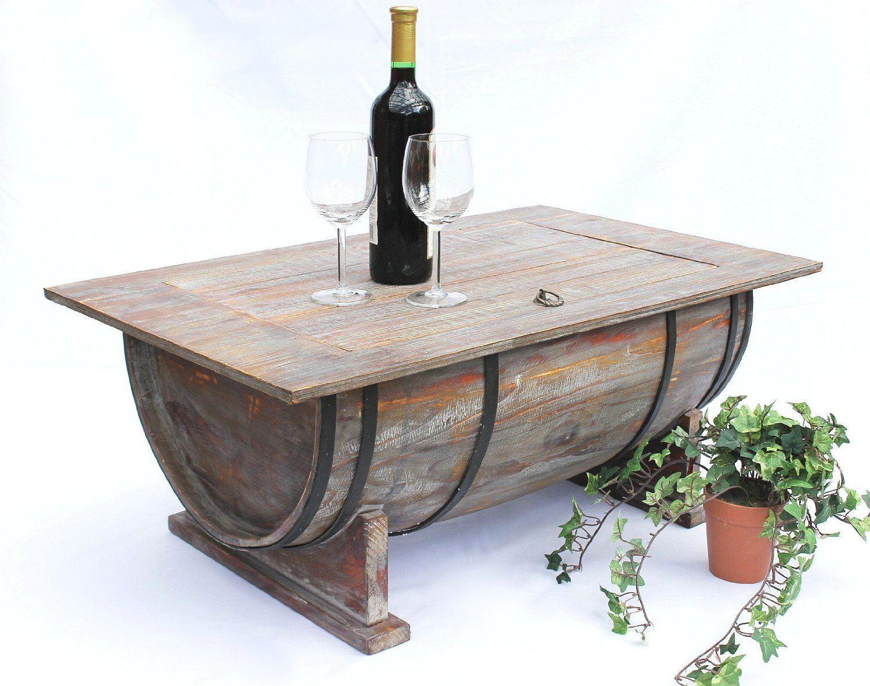 Couchtisch Weinfass 5084 Tisch aus Holz Weinregal 80cm Beistelltisch ...