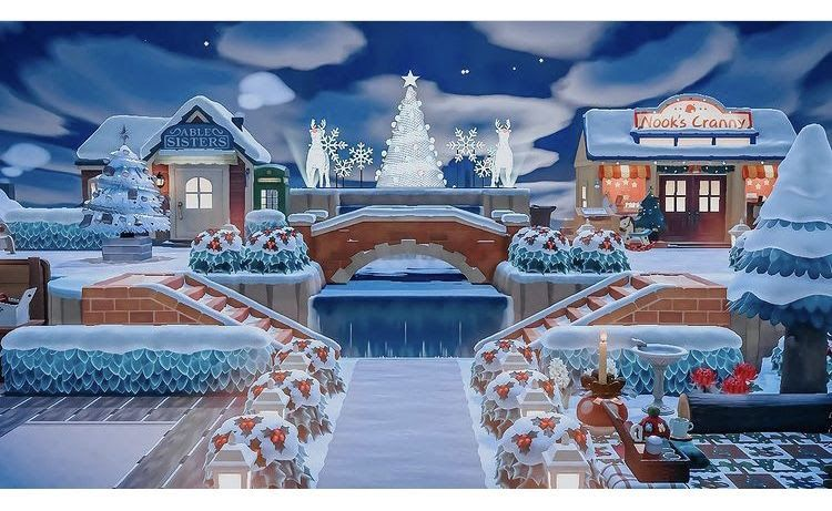 Christmas decorated shopping plaza! ACNH