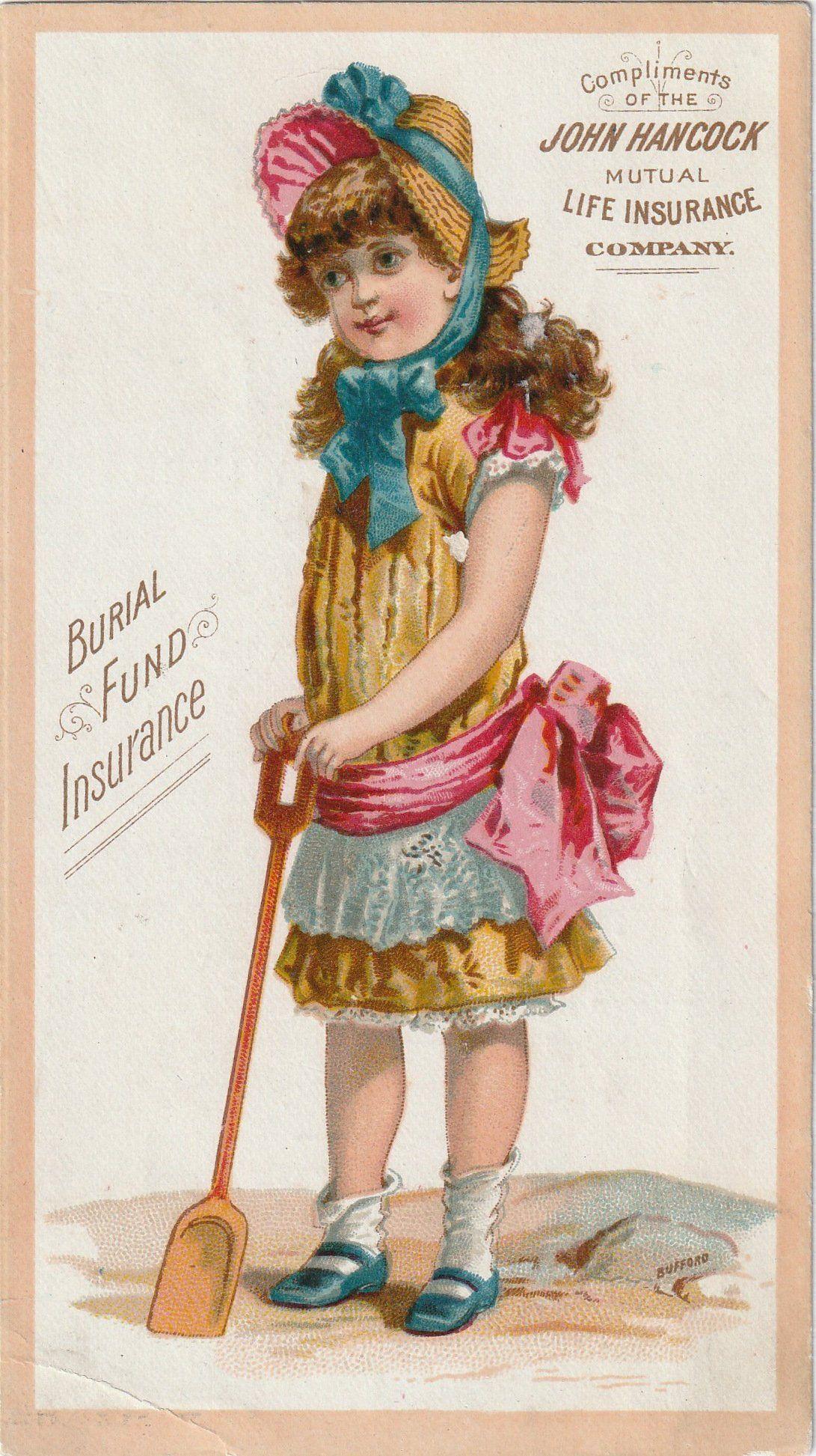 Burial fund insurance trade card c 1800s ephemera
