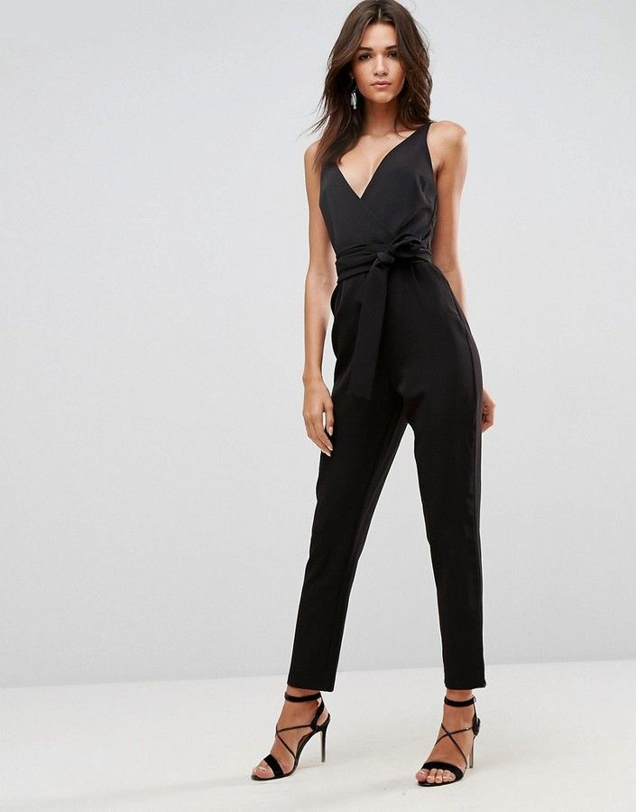 0cead6eb012 DESIGN wrap front jumpsuit with peg leg and self belt