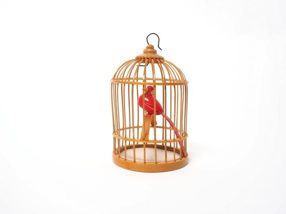 Vintage BoHo Miniature Round Wood Bird Cage Ornament Shelf Knick Knack, Red Wood Bird, Mini Bird Cage, Bamboo, Christmas Ornament, Wedding #knickknack