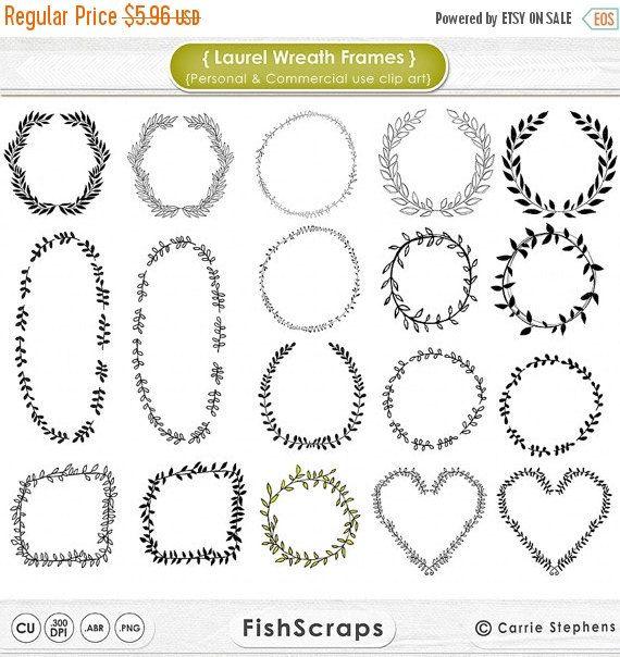 VENTE 50 % Couronne de Laurier cadre Clip Art par FishScraps