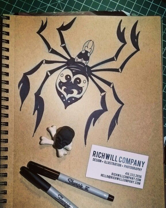 Happy #Halloween! Spider Illustration by Erik Sciarra