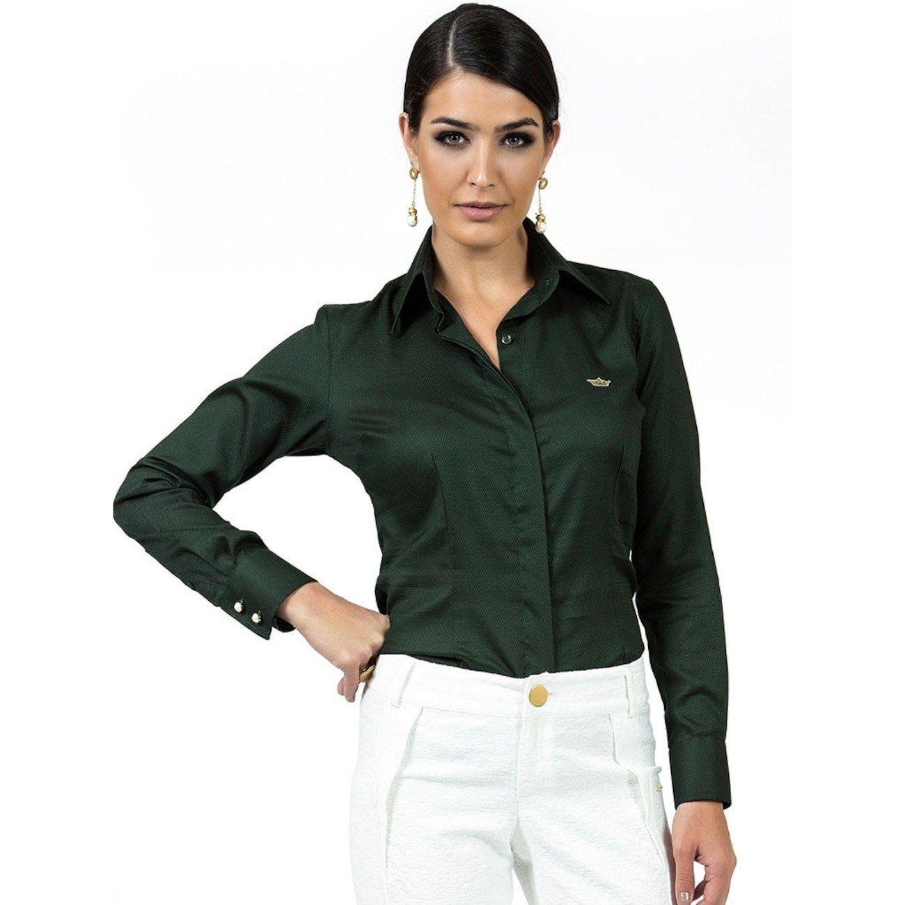 b7e8385f87 Camisa Social Maquinetada Principessa Fátima - Verde  CLIQUE EM VISITAR