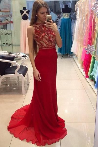 2853041b4c A-Line Prom Dresses Women's Halter Crystals Sequins Beaded Open Back ...