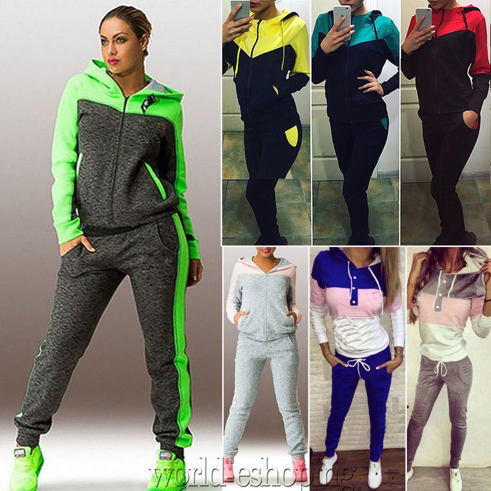 Womens Tracksuit Hoodies Sweatshirt Pants Sets Sport Wear 2PCS Jogging Suit