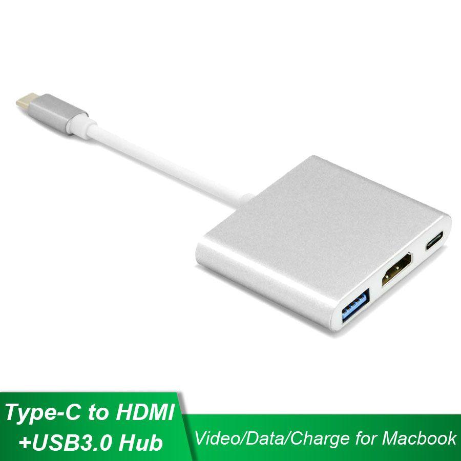 Usb 타입-c hdmi usb3.0 + pd 충전 허브 c 형 비디오 데이터 어댑터 usb c 컨버터 맥북 크롬 북 dell xps 12/13
