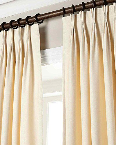 100% Linen Pinch Pleated Lined Window Curtain Panel Drape