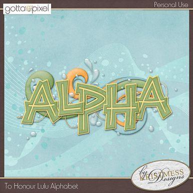 To Honour Lulu Digital Scrapbook Alphabet. $3.50 at Gotta Pixel. www.gottapixel.net