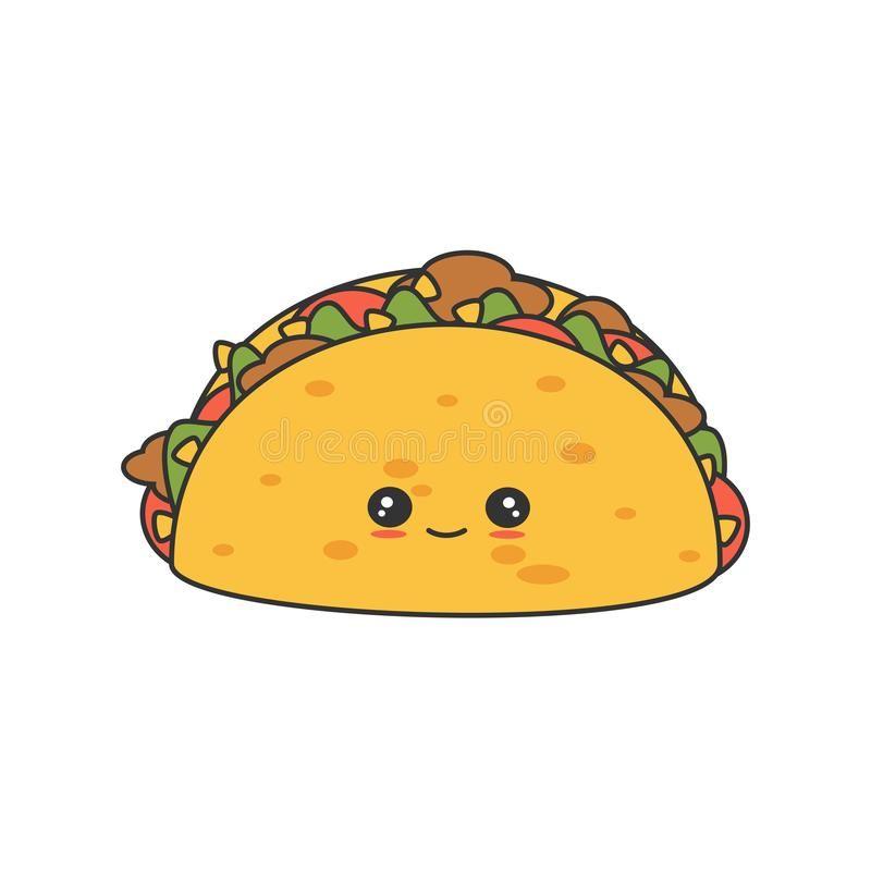 Cute Cartoon Vector Tacos Isolated On White Background Cute Cartoon Tacos Isola Aff Vector Cartoon Cute T Taco Cartoon Cute Cartoon Cartoons Vector