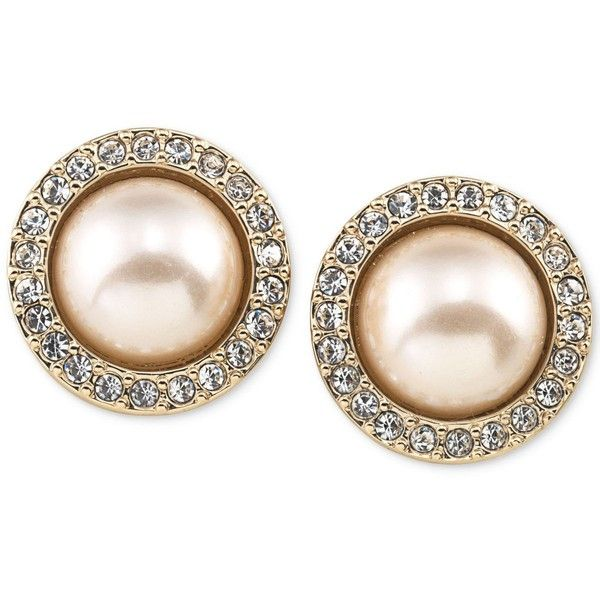 Carolee Gold Tone Pave And Imitation Pink Pearl On Earrings 40 Liked