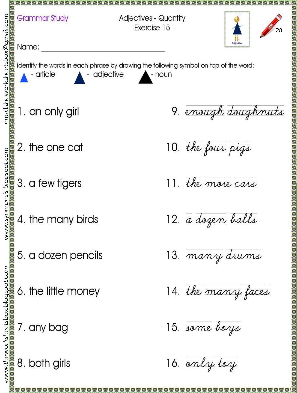 Sample Worksheet For The Order Of The Noun Family Study