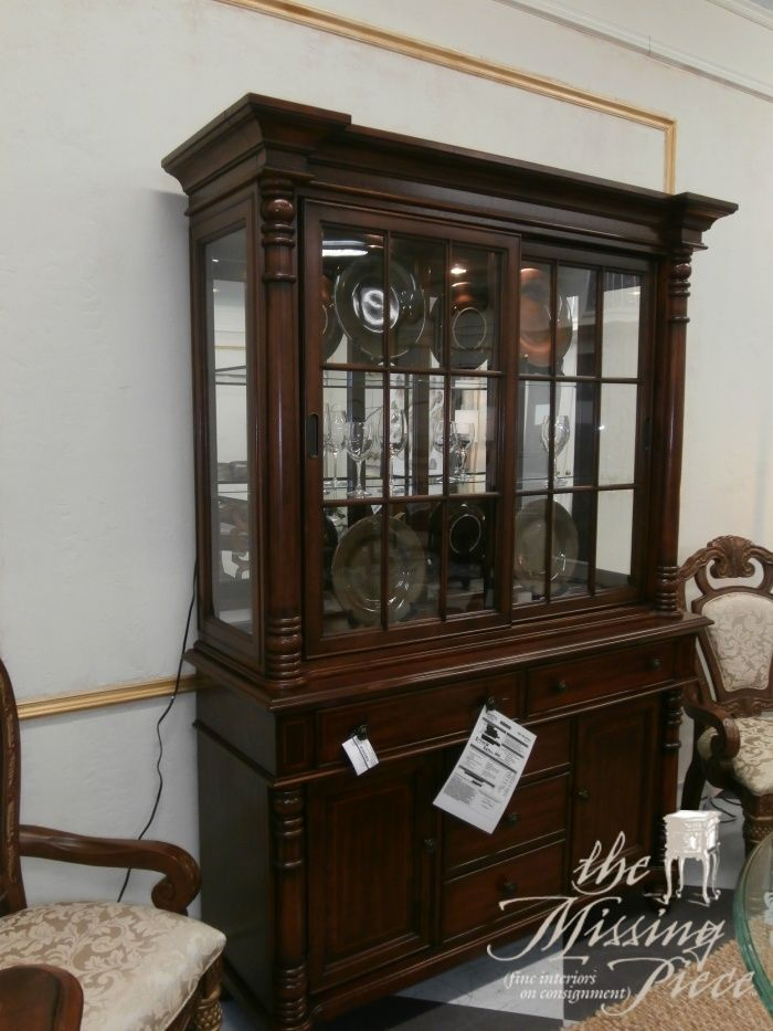 Havertyu0027s, Two Piece China Cabinet In A Medium Stain. Very British West  Indies.