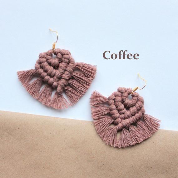 Boho macrame earrings Statement cotton earrings | Etsy