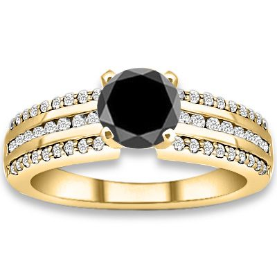 0.84 ctw 14k YG AAA Black, Accent G-H Color, I1 Clarity Diamonds Engagement Ring #diamondEngagementRing #engagementrings #Rings #Ring  #jewelry @pricepointshop http://www.pricepointshop.com/product.asp?idproduct=28206