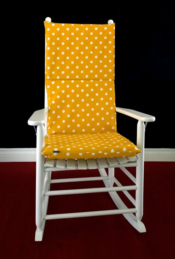 Polka Dot Rocking Chair Cushions Face Down Cushion Cover Gold White Dots By Rockincushions Beautiful Color For A Gender Neutral Room