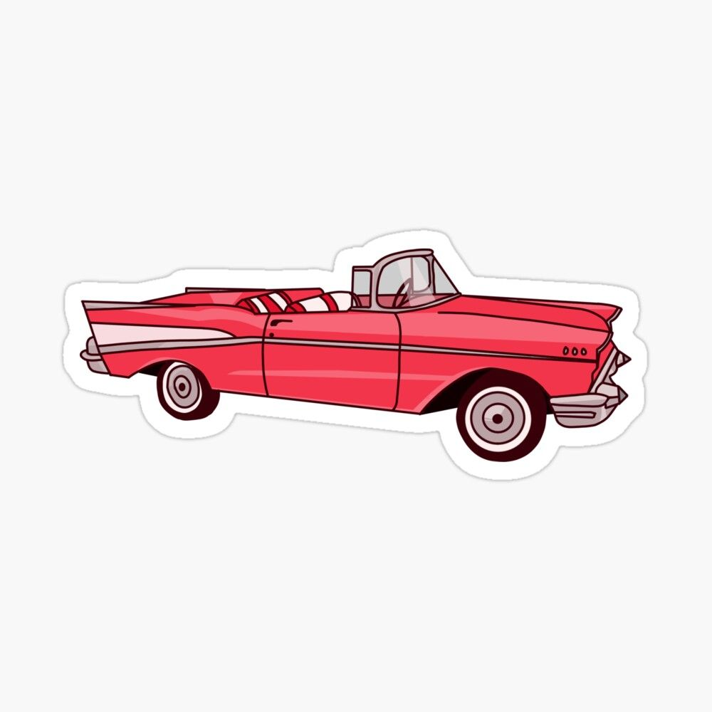 Retro Vintage Car Red Sticker By Thicker Than A Sticker Retro Vintage Vintage Cars Retro Cars [ 1000 x 1000 Pixel ]