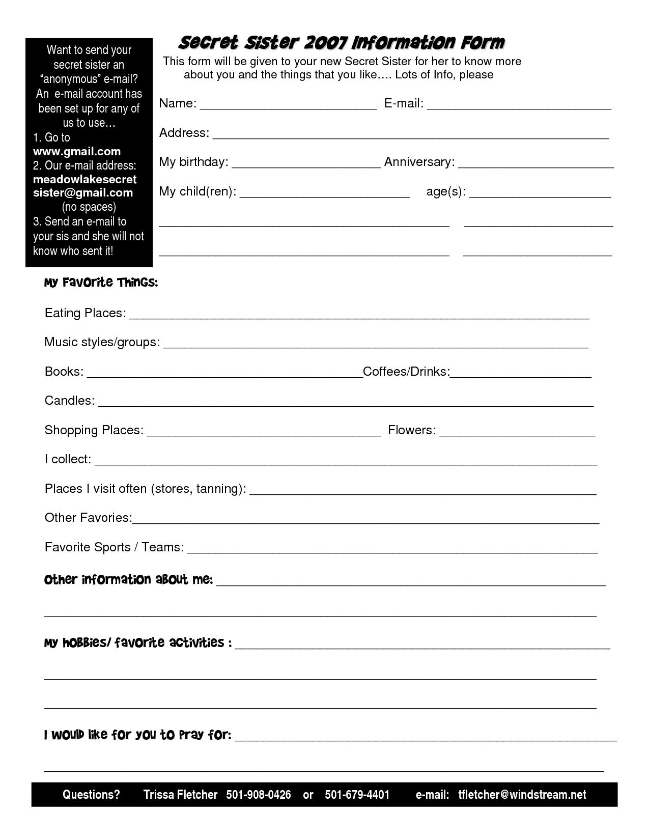 Secret Sister Information Sheet