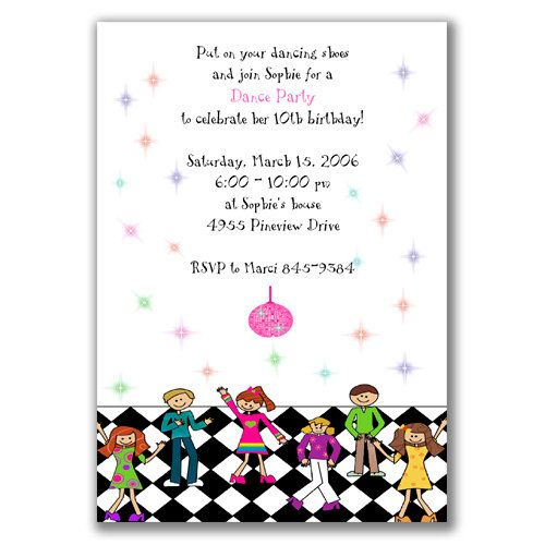 Dance Party Invitations For Kids Birthday