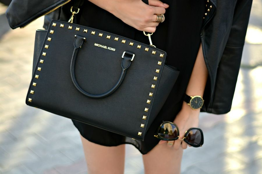 Selma Studded Saffiano Tote by Michael Kors