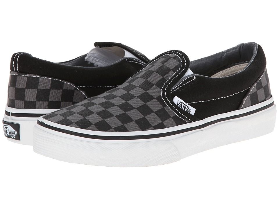 4e3e89028777ff Vans Kids Classic Slip-On (Little Kid Big Kid) Kids Shoes (Checkerboard)  Black Pewter