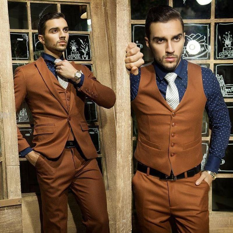 Brown Wedding Tux: Cheap Custom Made Slim Fit 2015 Brown Arabic Wedding Suit