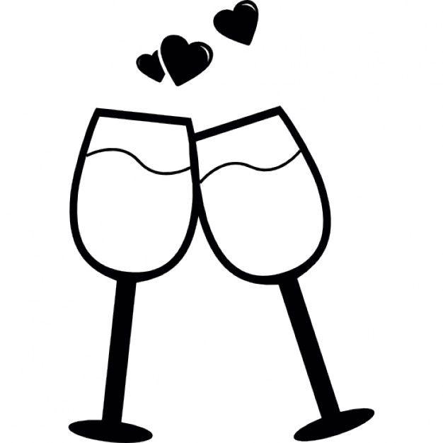 Par De Copas En Un Brindis Por El Amor Icono Gratis Amor