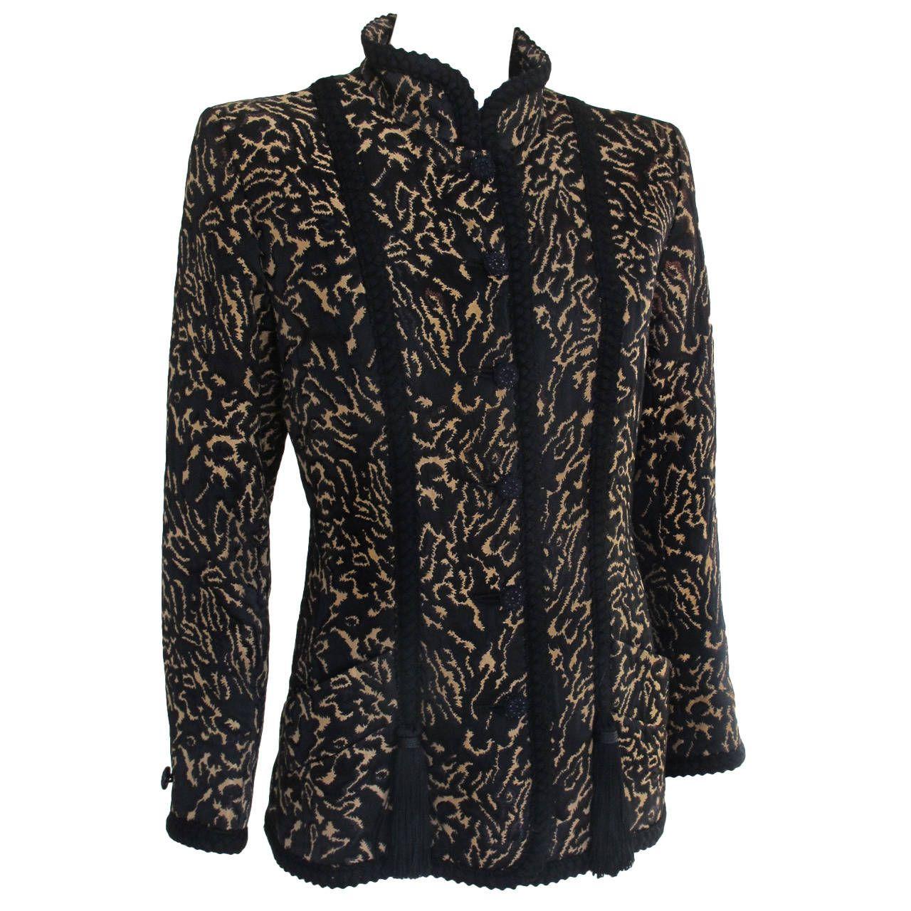 43da1480985 Yves Saint Laurent Silk Brocade Printed Evening Jacket w/Braid & Tassel  Trim