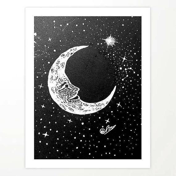 Original Moon Art Man In The Moon Moon And Stars Artwork Night Sky Decor 8x10 Matted Signed Print Outer Space Wall Art In 2020 Moon Art Artwork Art