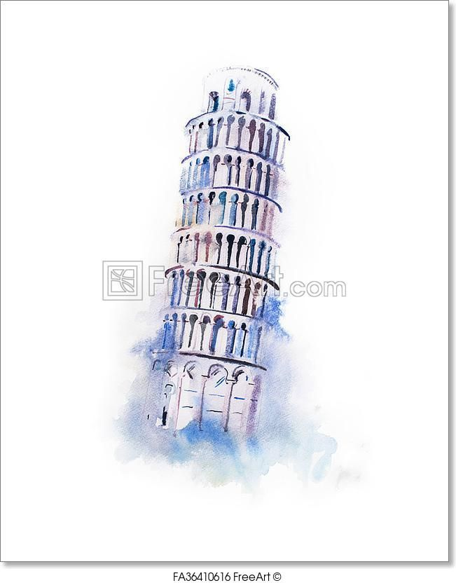 Free Art Print Of Watercolor Drawing Leaning Tower Of Pisa