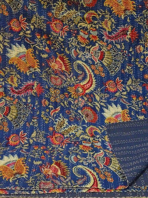 Blue Multicolor Mukut Print King Size Kantha Quilt