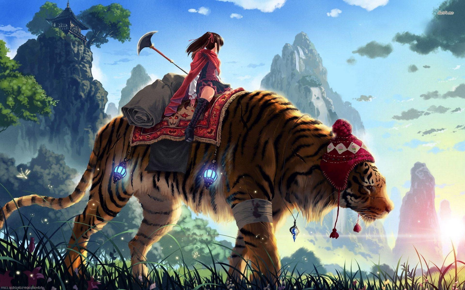 Girl Riding A Tiger Hd Wallpaper Art Binatang Manga Anime