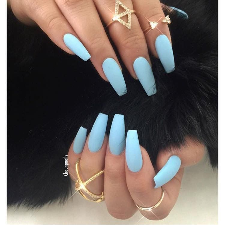 Matted Sky Blue Nails Blue Acrylic Nails Powder Blue Nails Baby Blue Nails