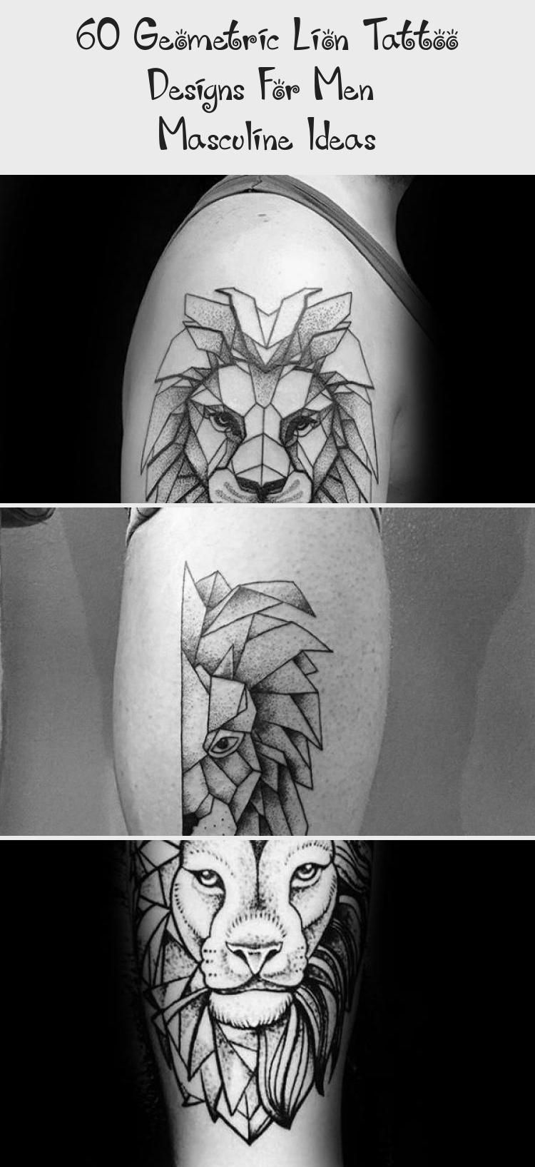 60 Geometric Lion Tattoo Designs For Men  Masculine Ideas  Tattoos  Upper Chest Broken Geometric Lion Tattoo On Men