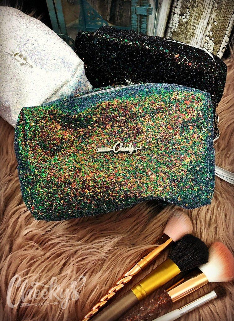 Cheekys Glitter Makeup Bag in Turquoise Glitter makeup