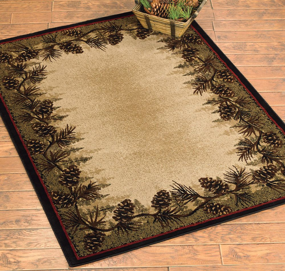 Rustic Area Rug With Cones With Images Rustic Area Rugs Black