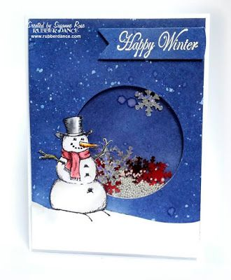 Mr Frosty shaker card by Susanne Rose for the November/December challenge at the Rubber Dance Stamp blog (click image to see the post). You can find Mr Frosty and all his COOL rubber friends, so to speak, at rubberdance.com Lots of stamps for Christmas - and more!