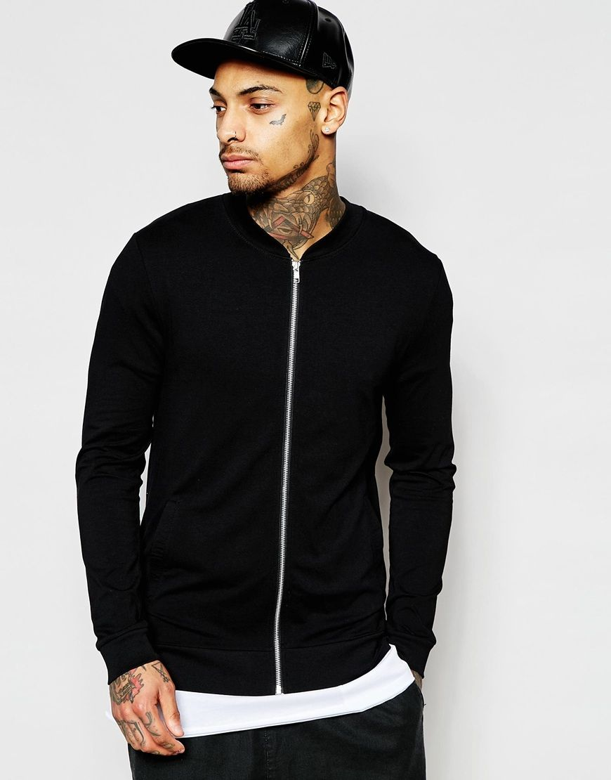 Image 1 of ASOS Lightweight Jersey Muscle Bomber Jacket In Black