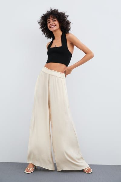 d43f3017e ZARA - Female - Wide flowy pants - Ice - M in 2019 | Products ...