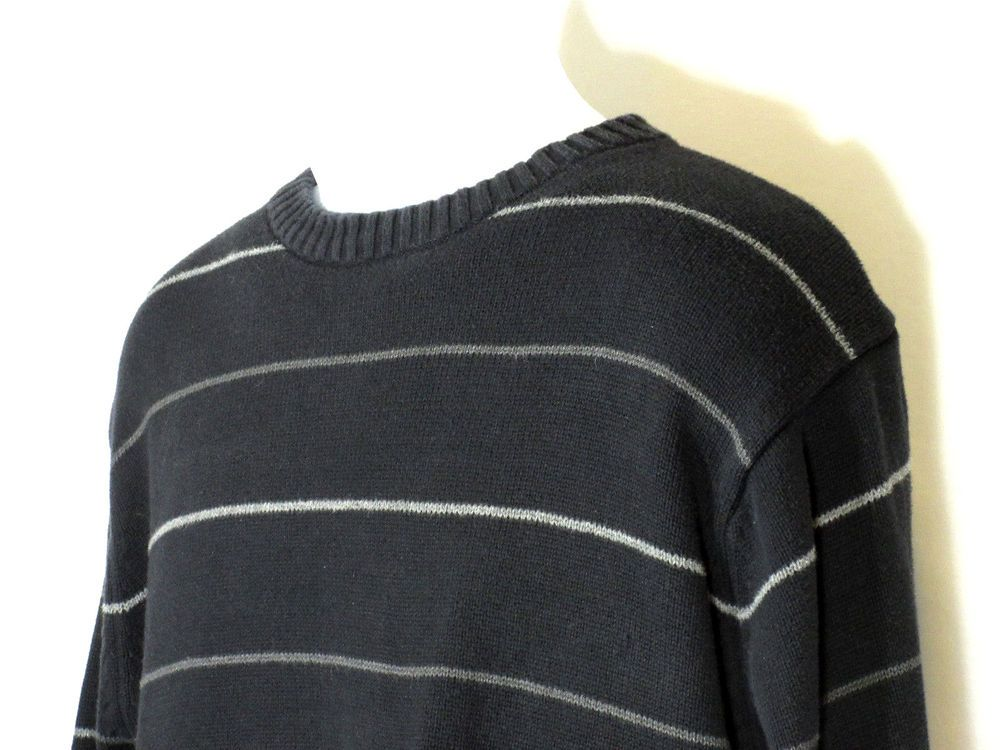 Oscar De La Renta Mens Crewneck Pullover Gray Striped Sweater 100
