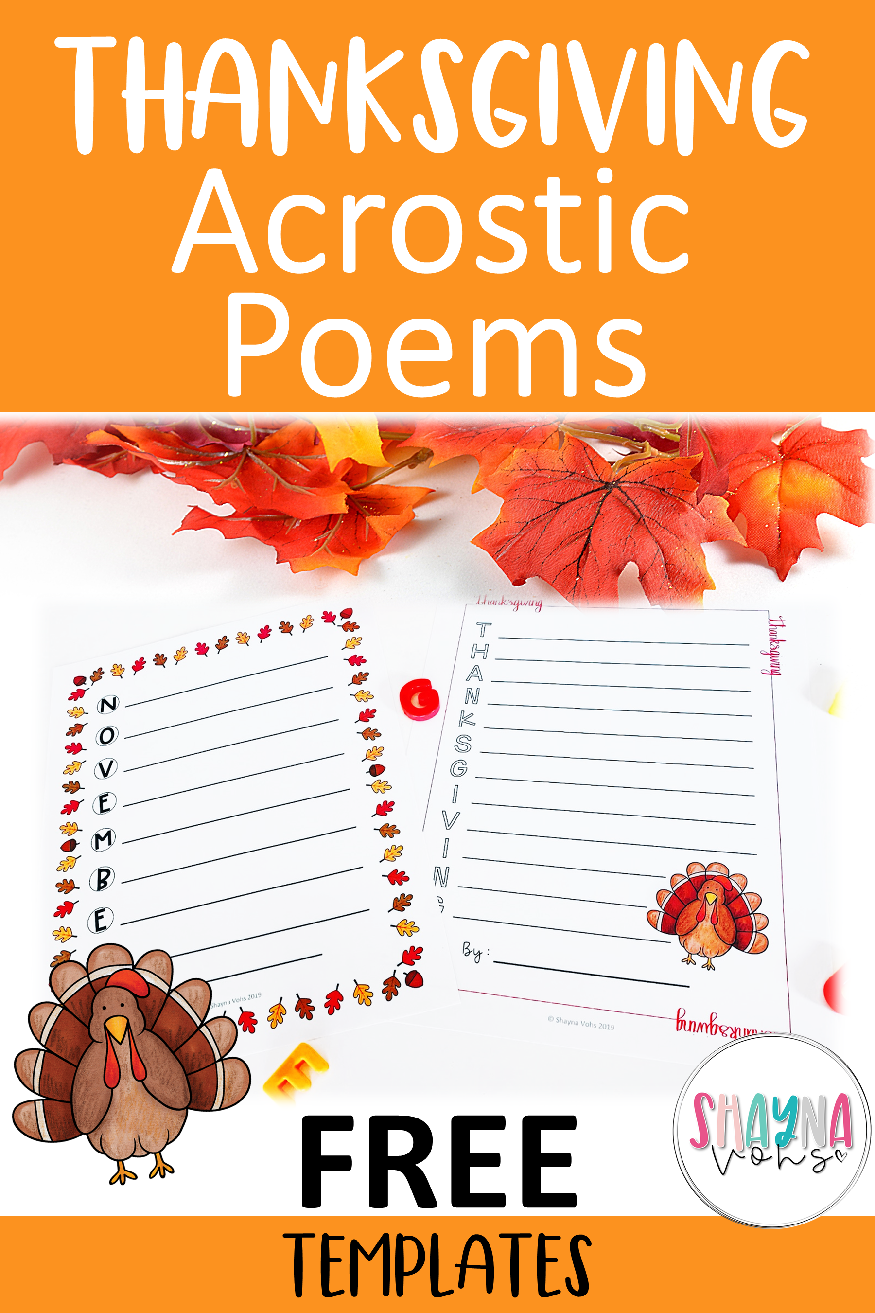 Free Thanksgiving Acrostic Poems