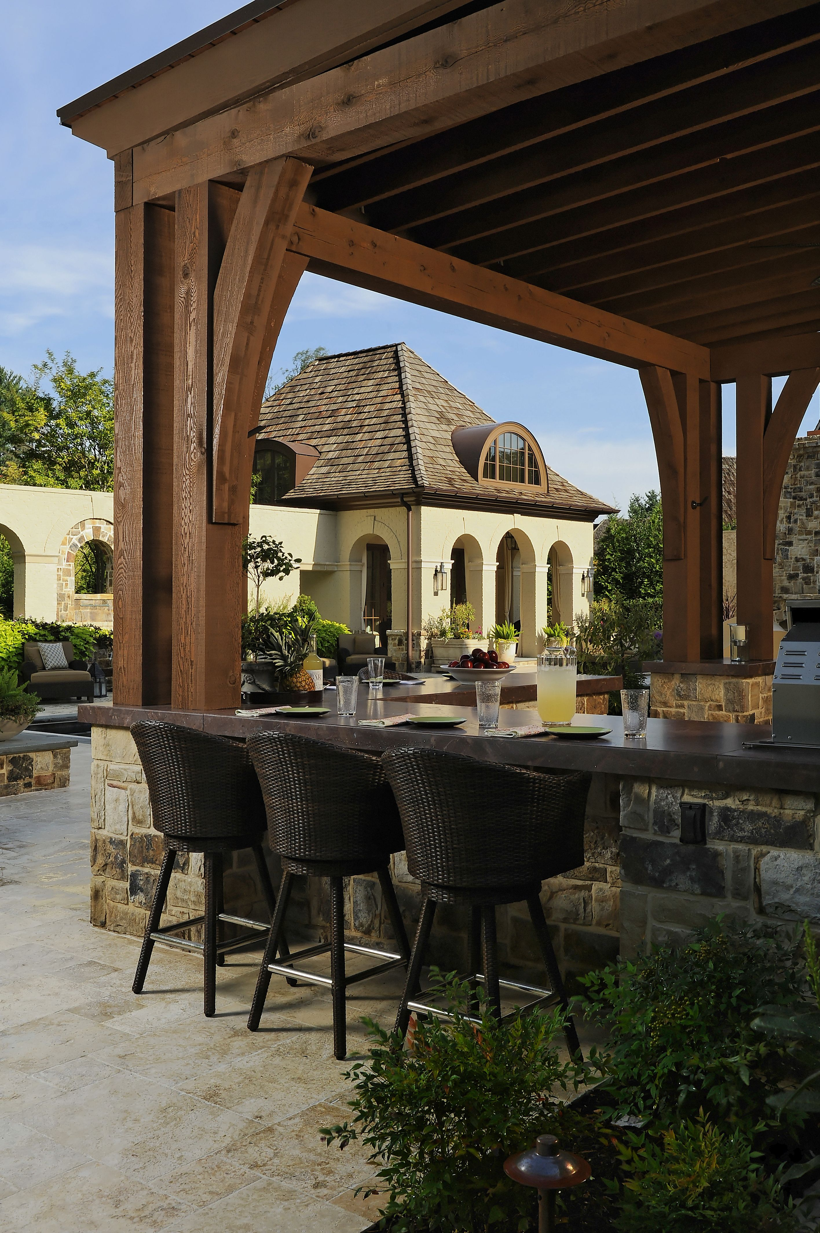 Fabulous outdoor kitchen and pool house outdoor living and garden