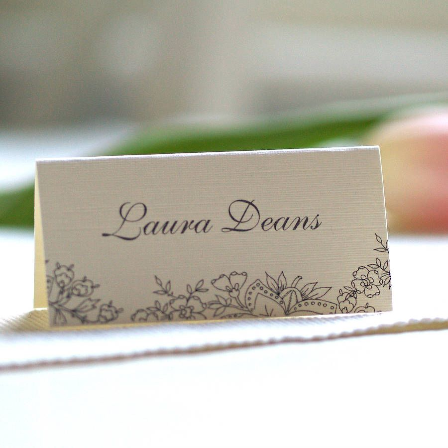 Personalised lace design name cards lace design place for Place card for wedding