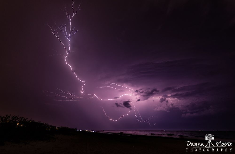 Lightning over Fernandina Lightning over the beach on Amelia Island, Florida.