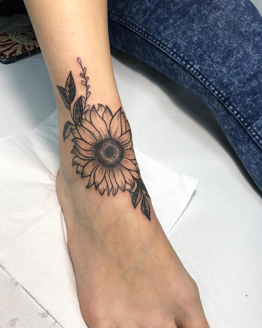 unique foot tattoos Foottattoos Sunflower foot tattoos