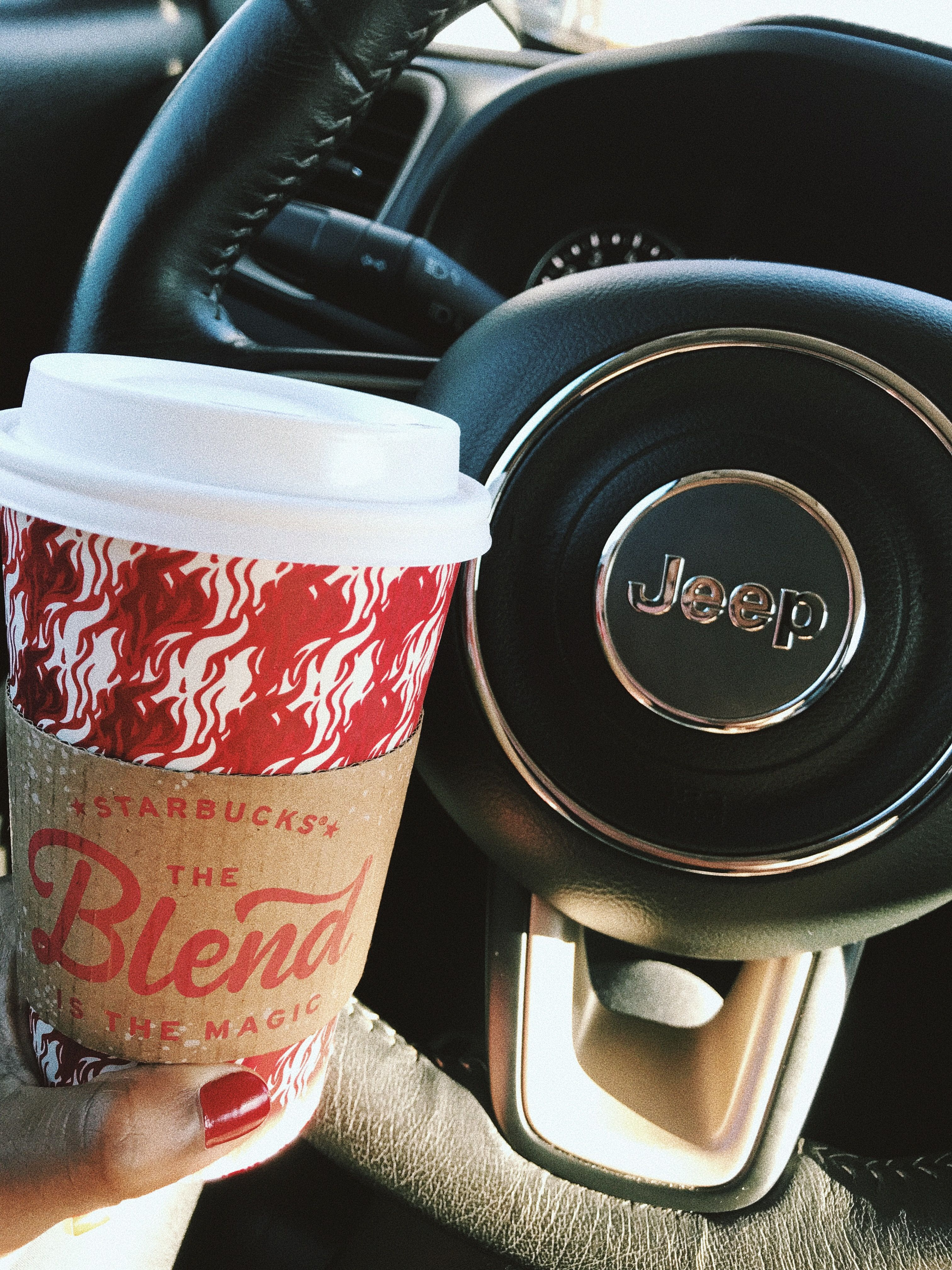 jeep coffee starbucks Dunkin donuts coffee cup