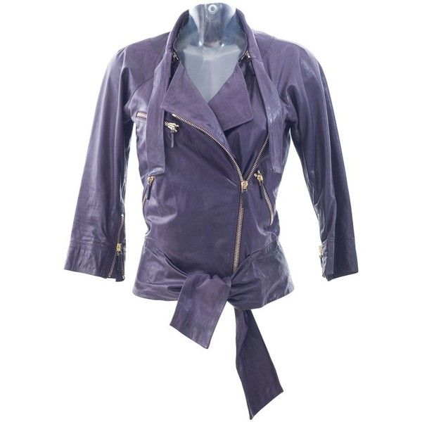 Pre-owned purple leather biker jacket ($1,000) ❤ liked on Polyvore featuring outerwear, jackets, violet, gucci jacket, real leather jackets, 100 leather jacket, purple biker jacket and motorcycle jacket