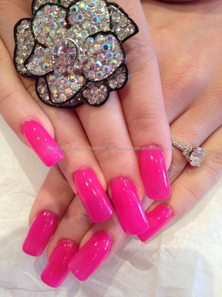 Eye Candy Nails Training Hot Pink Gel Polish Over Acrylic Overlays By Elaine Moore On 19 April 2017 At