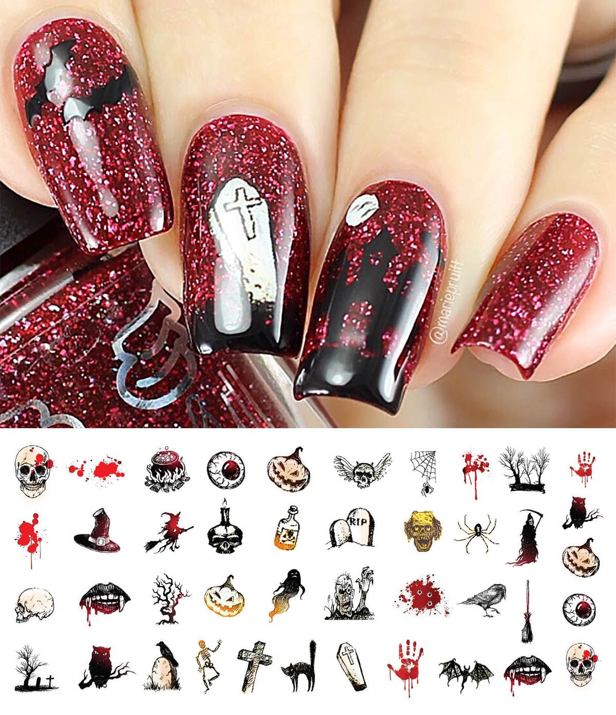 Pin By Moon Sugar Decals On Halloween Nail Art Decals Pinterest